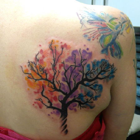 tree and hummingbird tattoo